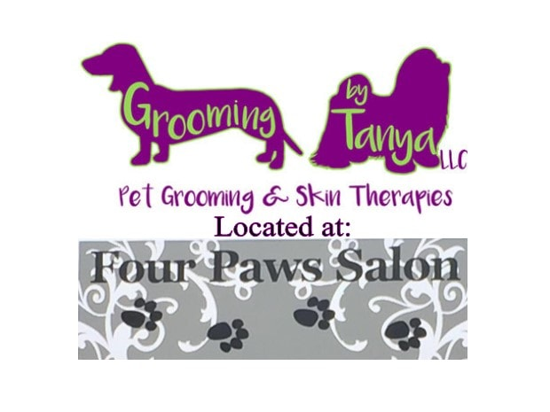 grooming by tanya logo with four paws salon-min
